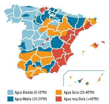 dureza del agua en España