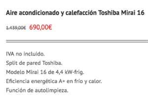 oferta aire acondicionado Toshiba Mirai 16